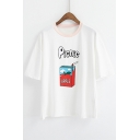 Casual Picnic Apple Juice Printed Short Sleeve Round Neck Graphic Tee