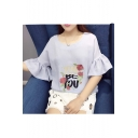 Chic Floral Letter Embroidered Round Neck Flared Sleeve Pullover Blouse
