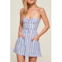 Chic Spaghetti Straps Classic Striped Pattern Mini A-Line Slip Dress