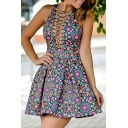 Hot Fashion Lace-Up Sexy Plunge Neck Sleeveless Tribal Printed Mini A-Line Dress
