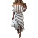 Sexy Off the Shoulder Short Sleeve Cropped Blouse with Asymmetric Wrap Skirt Striped Co-Ords