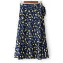 Summer's Fresh Floral Printed Tie Side Chiffon Midi Wrap Skirt
