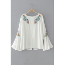 New Arrival Chic Floral Embroidered Boat Neck Flared Sleeve Pullover Blouse