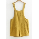 Casual Leisure Straps Sleeveless Linen Plain Overalls with Pockets