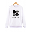 Unisex Fashion WINGS Graphic Printed Long Sleeve Round Neck Pullover Sweatshirt
