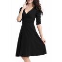 Women's Ruched Waist Classy V-Neck Casual Cocktail Dress