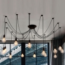 Spider 14 Light Pendant in Black Finished Edison Bulb LED Industrial Metal Pendant Light for Living Room Restaurant