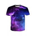Hot Fashion 3D Galaxy Printed Round Neck Short Sleeve Casual T-Shirt
