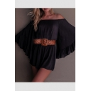New Fashion Off The Shoulder Batwing Sleeve Plain Gathered Waist Rompers