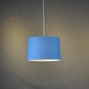 Drum Shade Pendant Light  Blue 18''