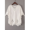 New Arrival Chic Crochet Hollow Out V Neck Half Sleeve Plain Pullover Blouse