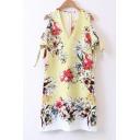 V Neck Cold Shoulder Chic Floral Printed Tie Sleeve Mini Shift Dress
