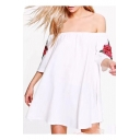 Fashion Sexy Off the Shoulder Half Sleeve Embroidery Floral Appliqued Mini Swing Dress