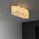 Linear Floral Frosted Blown White Glass Semi-Flush Mount Light