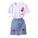 Fashion Two Pieces Embroidery Floral Short Sleeve Round Neck Tee with Denim Skirt