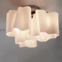 Floral Frosted Blown White Glass Semi-Flush Mount Light, 3 Light