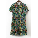 Color Block Floral Printed Short Sleeve Round Neck Mini T-Shirt Dress