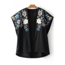 Symmetric Embroidery Floral Pattern Open Front Short Sleeve Kimonos