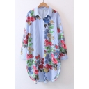 New Arrival Striped Floral Printed Long Sleeve Lapel Single Breasted Tunic Shirt