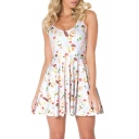 Cartoon Printed Scoop Neck Sleeveless Beach Mini A-Line Skater Dress