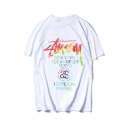 New Fashion Tie Dye Letter Printed Round Neck Short Sleeve Casual Tee
