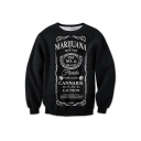 Letter Printed Round Neck Long Sleeve Pullover Casual Loose Sweatshirt