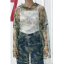 New Arrival Sheer Camouflage Printed Hooded Long Sleeve Tunic Top
