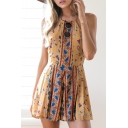Hot Fashion Floral Printed Halter Neck Sleeveless Casual Loose Rompers