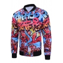 3D Letter Printed Stand Up Collar Long Sleeve Zip Up Casual Leisure Jacket