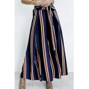 New Arrival Colorful Striped Printed Tie Waist Slit Side Wide Legs Pants