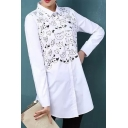 Lovely Cartoon Cat Pattern Lapel Collar Long Sleeve Tunic Loose Shirt