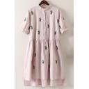 Summer's Cactus Printed Short Sleeve Oversize High Low Buttons Down Shirt Dress