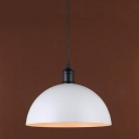 Industrial Hanging Lamp Vintage with Dome Shade in White