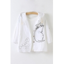 Lovely Cartoon Cat Printed Hooded Single Breasted Loose Sun Coat
