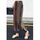 Boho Style Tribal Printed Holiday Drawstring Waist Loose Casual Pants