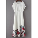 Chic Floral Printed Hem Round Neck Short Sleeve Maxi A-Line Dress