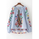 Chic Floral Embroidered Striped Printed Round Neck Long Sleeve Tassel Hem Blouse
