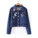 Fashion Embroidery Floral Pattern Lapel Long Sleeve Single Breasted Denim Jacket