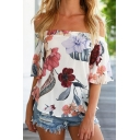 Hot Fashion Off The Shoulder Short Sleeve Floral Printed Pullover Blouse