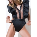 New Stylish Ruffle Sides Single Breasted Sleeveless Plain Bodysuit with Belt