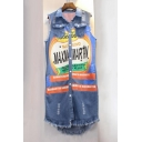 New Fashion Lapel Collar Letter Pattern Sleeveless Tassel Hem Denim Vest