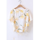 New Arrival Tied Front Single Breasted Shoulder Short Sleeve Floral Printed Blouse
