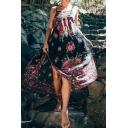 New Fashion Floral Printed Spaghetti Straps Sleeveless Maxi Slip Dress