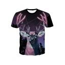 3D Galaxy Deer Printed Round Neck Short Sleeve Casual T-Shirt