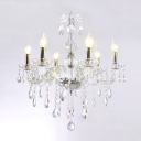 Gracefully Candelabra Style 6-Light Chandelier Transparent Crystal Line Ceiling Fixture