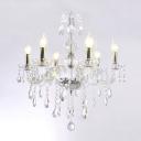 Gracefully Candelabra Style 6-Light Chandelier Transparent Crystal Line Ceiling Fixture