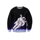 New Fashion 3D Space Astronaut Printed Round Neck Long Sleeve Pullover Sweatshirt