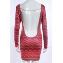 Fashion Geometric Pattern Sexy Open Back Long Sleeve Mini Bodycon Dress
