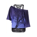 Lace Straps Batwing Sleeve Cold Shoulder Tree Printed Oversize T-Shirt