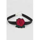 Retro Floral Rose Embroidered Wide Strap Fashion Necklace